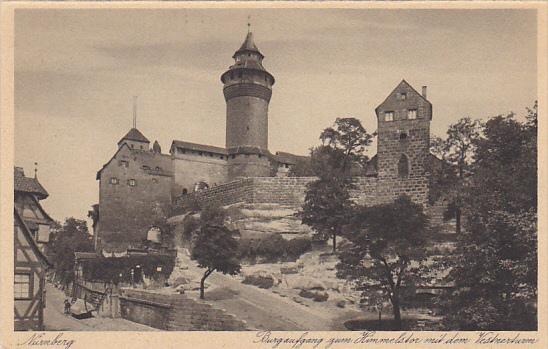 Germany Nuernberg Burgaufgang zum Himmelstor mit dem Vestnerturm