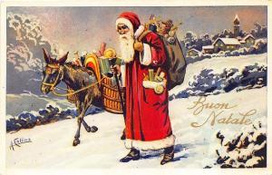 Christmas Santa Claus Donkey Signed A. Collins Italian Postcard