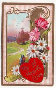 PC33 JLs old postcard 1910 my hearts love blue bird flowers