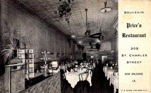 New Orleans, Louisiana - Interior of Price's Restaurant dining room - c1908
