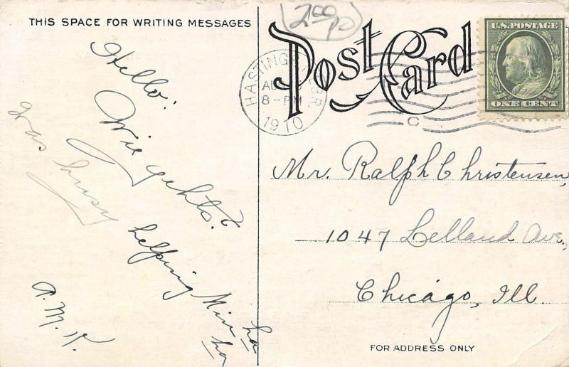Hastings NE~Fraternity Bldg~IOOF Hall~Car Dealer 1st Floor~Auto in Window~1910