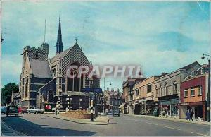 Postcard Modern High Street Barnet Wood Street with the Parish Church of St J...