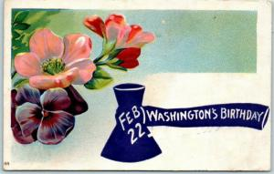 Vintage GEORGE WASHINGTON'S BIRTHDAY Postcard Axe / Flowers 1909 Cancel