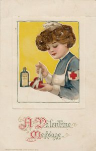 Red Cross Nurse bandaging a heart , A Valentine Message , John Winch 1914 ; Samu