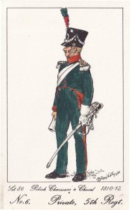Chasseurs A Cheval Polish Private 5th Regiment Soldier Napoleonic War Postcard