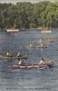 Minnesota Minneapolis Finish Of Canoe Derby Curteich