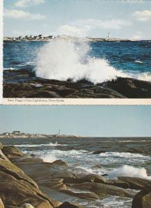 (2 cards) Surf and View of Light House at Peggys Cove NS, Nova Scotia, Canada