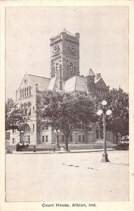 Albion Indiana Court House Street View Antique Postcard K64008