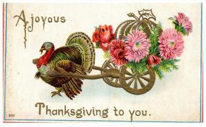 14237 Thanksgiviing    Turkey   pulling wagon of flowers