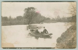 Independence Iowa~Men in Suits Boating the Wapsipinicon~LM Furbush~c1911 RPPC