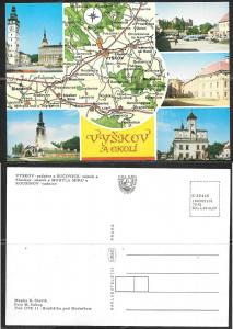 Czechoslovakia, Vyskov, map, unused