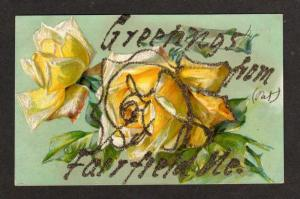 ME Greetings from FAIRFIELD MAINE Postcard PC Roses