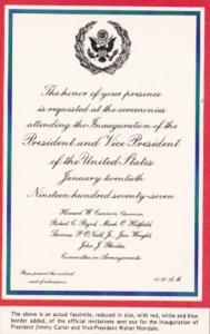 Invitation To Inauguration Of President Jimmy Carter and Vice President Walte...