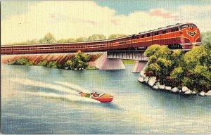 Gulf Mobile & Ohio Railroad Streamliner IL Vintage Postcard Standard View Card