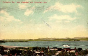 New York Burlington Bay Lake Champlain and Adirondack Mountains 1909