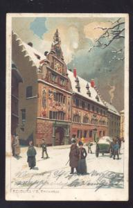 FREIBURG GERMANY I.B. RATHHAUS 1898 ANTIQUE VINTAGE POSTCARD