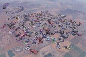 Perris Valley Skydiving Skydivers Falling California Postcard