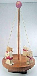 Vintage Scottie Dog Wooden Spinning Toy Scottish Terrier Merry Go Round Carousel