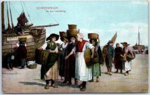 SCHEVENINGEN Netherlands Holland Postcard Dock Scene Women Carrying Goods c1910s