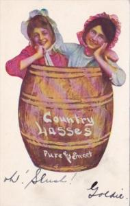 Humour Girls In Barrel Country Lasses Pure and Sweet