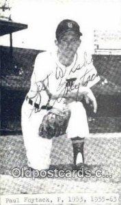 Paul Foytack Baseball Non Postcard Detroit Tigers Base Ball Postcard Post Car...