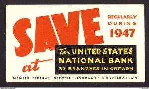 1947 United States National Bank 32 branches in Oregon - vintage blotter