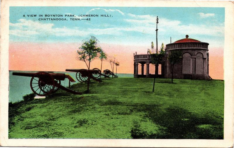 View in Boynton Park, Cameron Hill, Chattanooga TN Cannons Vintage Postcard H03