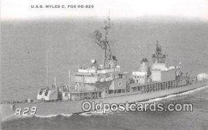 USS Myles C Fox DD829 US Atlantic Fleet Unused
