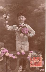 Children portraits early greetings postcard lovely boy with flowers