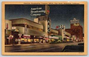 Hollywood CA~Neon Signs~Nite~Art Deco ABC Studios~KECA~Spotlite Cocktails~1953