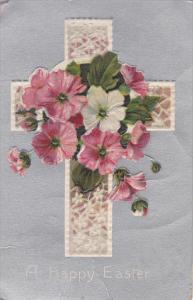 A Happy Easter,  Cross with flowers, Silver background, 00-10s