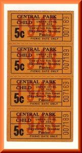 4-1943 Central Park Amusement Park Tickets, Allentown, Pennsylvania/PA/Penn