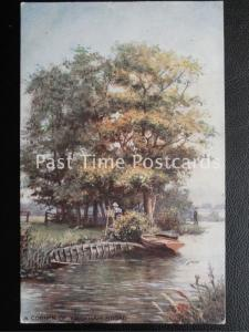 Norfolk - A Corner of WROXHAM BROAD shows Artist Painting c1907 by R. Tucks 7595