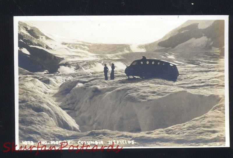 RPPC COLUMBIA ICE FIELDS CANADA SNOWMOBILE VINTAGE REAL PHOTO POSTCARD