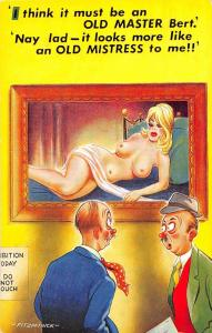 D62/ Nude Comic Bamforth Risque Postcard c1940s Boobs Woman Painting 23