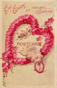 VIEL GLUCK zum NEUEN JAHRE! swine jumping through a heart of flowers