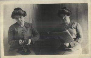 Unusual Twins or Trick Photography - Woman Sewing & Reading c1910 RPPC