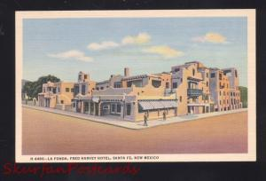 SANTA FE NEW MEXICO FRED HARVEY HOTEL LA FONDA OLD LINEN ADVERTISING POSTCARD