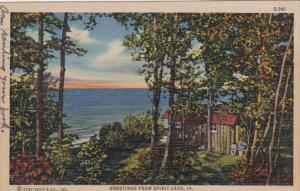 Iowa Greetings From Spirit Lake 1947 Curteich