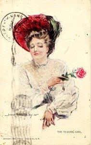 The Teasing Girl   Artist: Howard Chandler Christy.    (Excessive postal ink)