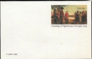 US Postcard mint - Landing of Oglethorpe, Georgia, 1733.  Issued in 1983.