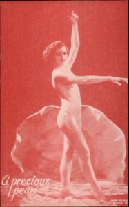 Nude Sexy Showgirl Pin-Up Exhibit Mutoscope Card RED TINT SER PRECIOUS PEARL