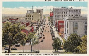 RALEIGH, North Carolina, 1930-1940s; View Of Fayetteville Street From State C...