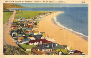 Malibu Beach California Movie Star Colony Birdseye View Antique Postcard K104551