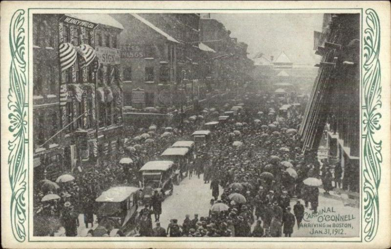 Cardinal O'Connell Arriving in Boston Jan 31 1912 Postcard