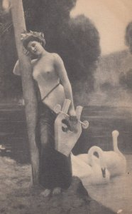 Topless Girl with a lute , 1910