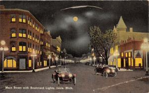 Ionia Michigan~Main Street @ Night w Boulevard Lights~Hotel~Cars~c1910 Postcard
