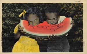 Linen Curt Teich 1947 USA Postcard African American Children eat Water Melon 47Y