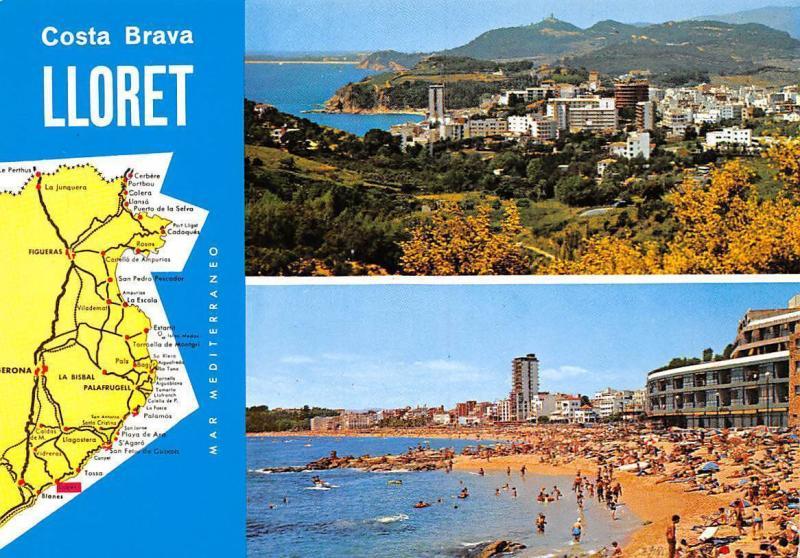 Spain Costa Brava Lloret map souvenir Lloret de Mar HipPostcard