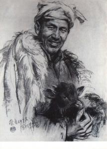 Postcard Art Print AN OLD SHEPHERD by Cai Liang (1973), Chinese Sketch #863